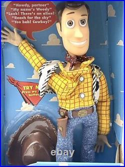 1995 Disney Toy Story Talking Woody Doll Press Button on Shirt Thinkway RARE HTF