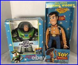 1995 Vintage Thinkway Toy Story Woody Pull-string Buzz Lightyear Rare Disney Nib