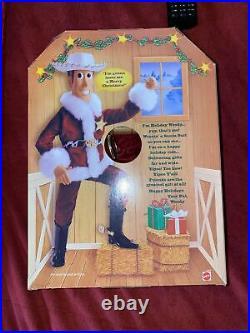1999 Mattel Holiday Hero Series Toy Story Woody Figure Doll New Sealed Santa