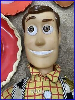 3 Disney Pixar/Think way Toy Story Pull String Jessie Woody Sheriff Dolls +Hats