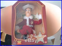 DISNEY Mattel 1999 TOY STORY Christmas Santa HOLIDAY HERO WOODY Talking Doll