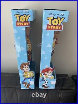 Disney Parks Talking Woody & Jessie Toy Story Pull String 16 Figure Dolls, SET