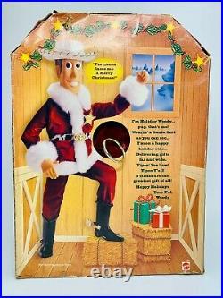 Disney Pixar 1999 Toy Story Talking Holiday Hero Woody Christmas Santa
