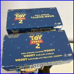 Disney Pixar Toy Story 2 Pull String Talking 16 WOODY + JESSIE Dolls Thinkway