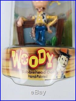 Disney Pixar Toy Story Hand Painted Woody Buzz Lightyear Bobblehead Doll Set