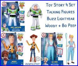 Disney Toy Story 4 Movie TALKING BUZZ LIGHTYEAR +WOODY +BO PEEP DOLL Bundle Set