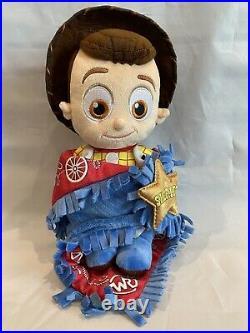 Disney's Babies Woody Toy Story Stuffed Plush Baby Doll Blanket Wrap RARE