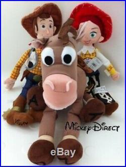 HUGE Disney Store Toy Story 3 Plush Jessie 41cm Woody 46cm Bullseye 43cm Doll