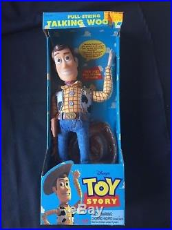 Original 1995 Toy Story Talking Woody Doll Think Way Pull String 1st Edition Box