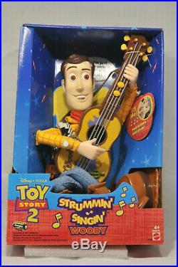 Original Disney Pixar 1999 Toy Story 2 Strumming Singing Woody Mattel 23726