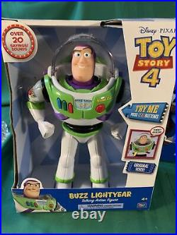 Toy Story 4 TALKING Sheriff Woody And Buzz Lightyear 16 Action Figures Lot Of 2
