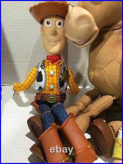 Toy Story Pull String Talking Woody & Jessie 15 Dolls With Hats Works! + Scout