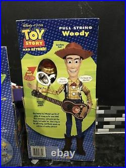 Toy Story Pull String Woodie 13& Deluxe Buzzlightyear 11 2002 (new)