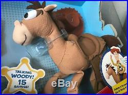 Toy Story Talking Woody With Bullseye Plush Dolls Brand New Disney Pixar
