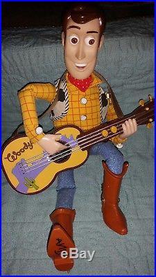 Vintage Disney Pixar Toy Story Singing Woody Strumming Guitar 17 Doll